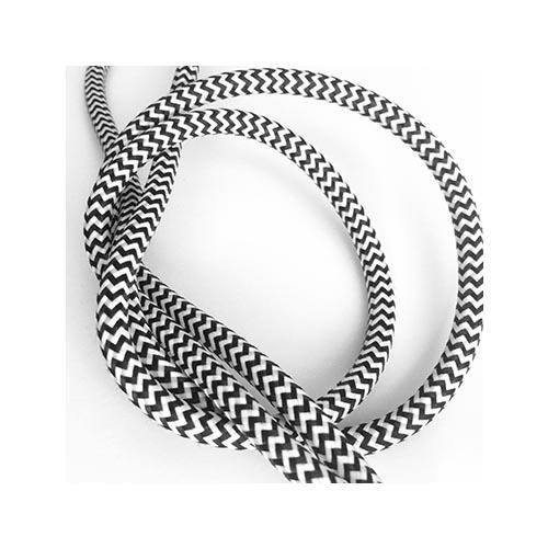 Zig Zag Patio Lights: BLACK & WHITE ZIG-ZAG FABRIC CABLE